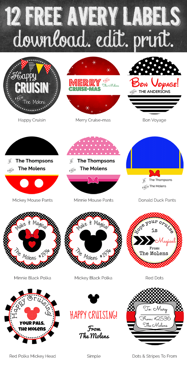 Free Printables Disney Cruise Fish Extender Gift Tags. Download more than 50 free stickers, labels and tags from www.picturethemagic.com. Simply edit and print.