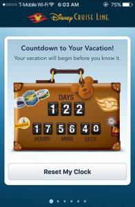 Disney Cruise Line Navigator App Countdown Timer