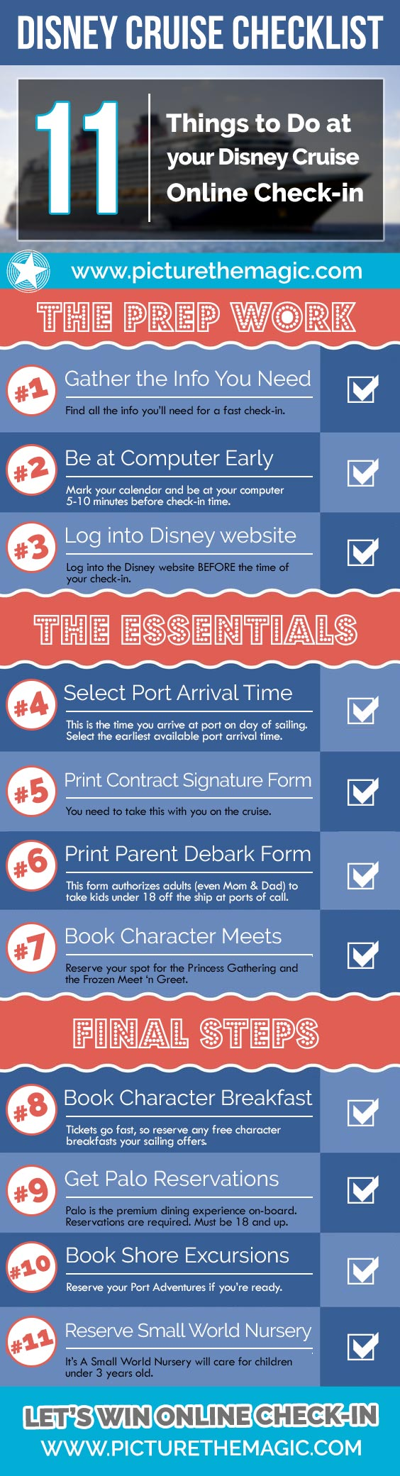 Disney Cruise Online Check-in Checklist Infographic