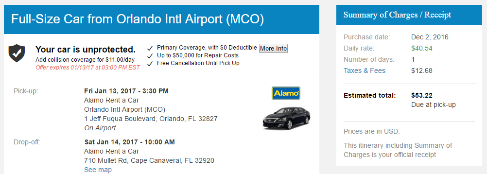 Priceline Rental Car Order Confirmation Screen