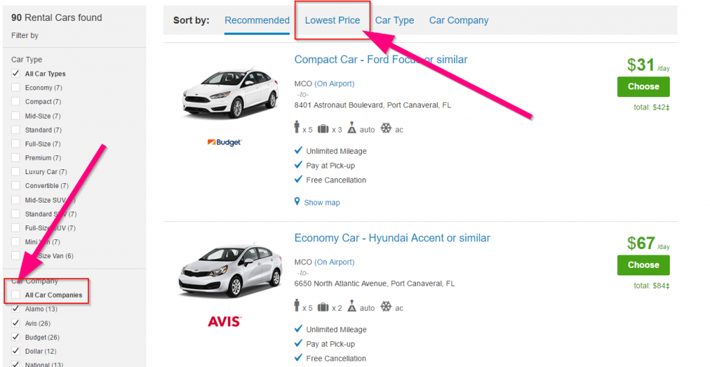 Search and Filter for Rental Car Using Priceline