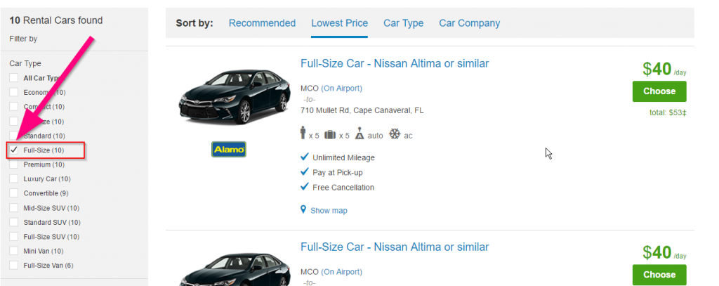 Filter Rental Car Search in Priceline