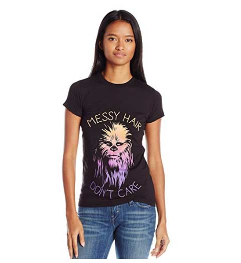 Messy Hair Don't Care, Chewbacca -- Star Wars Shirts for Ladies