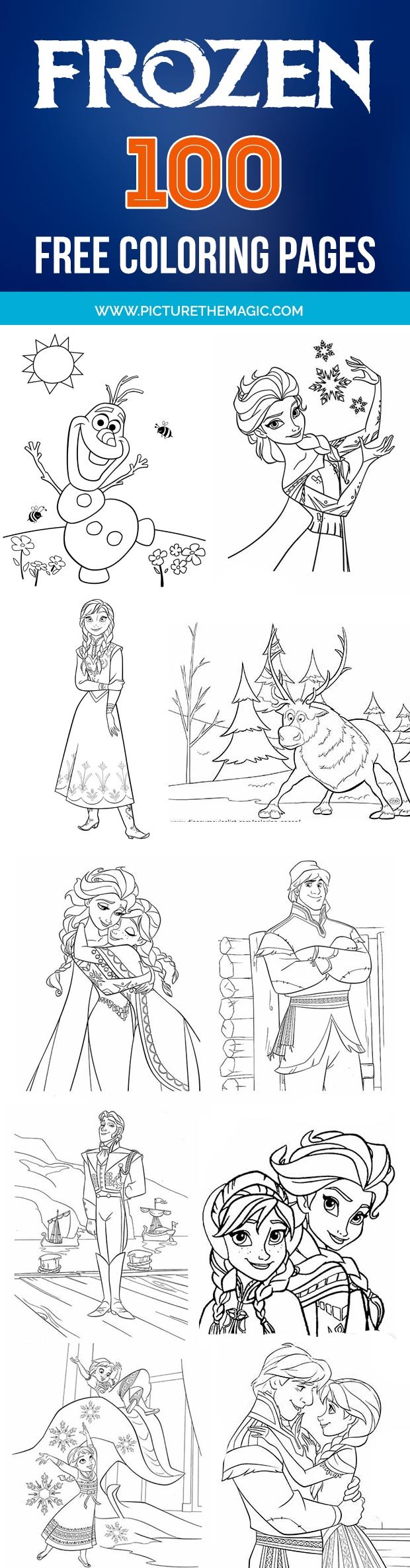FREE! 100 Frozen Coloring Pages. Print them one at a time or download them all at once.