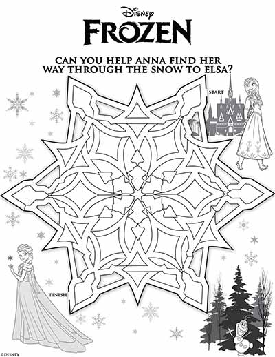 Anna Elsa Maze Coloring Pages from Frozen