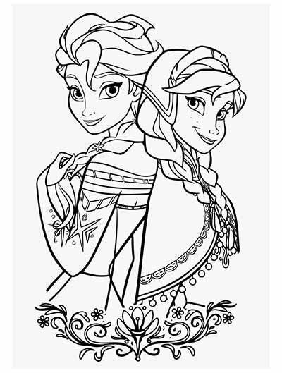 Princess Elsa And Anna Frozen Coloring Pages