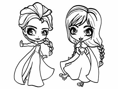 Lovely Princess Elsa And Anna Frozen Coloring Pages