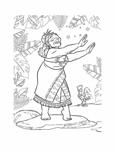 Gramma Tala Coloring Pages from Moana