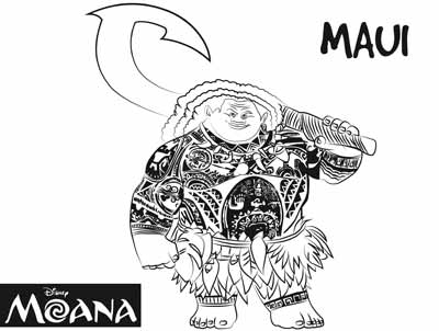 Maui and Hook Coloring Pages