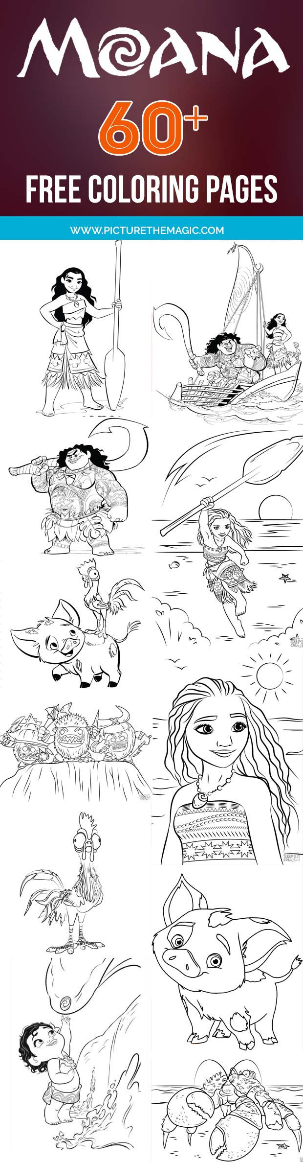 FUN! Over 60 free Moana Coloring Pages. Maui, Pua, Hei Hei and all of Moana's friends from the movie. Free Moana coloring sheets.