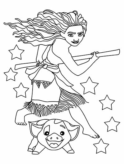 Moana and Pua Coloring Pages from Moana