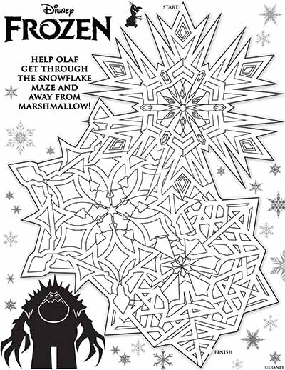 Olaf Maze Coloring Pages from Frozen