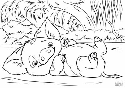 Pua Coloring Pages from Moana