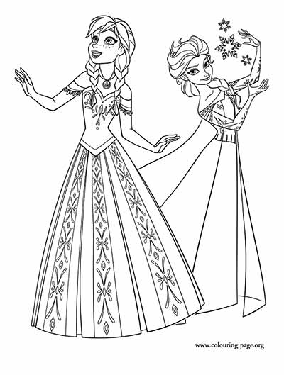 Anna and Elsa Frozen Coloring Pages
