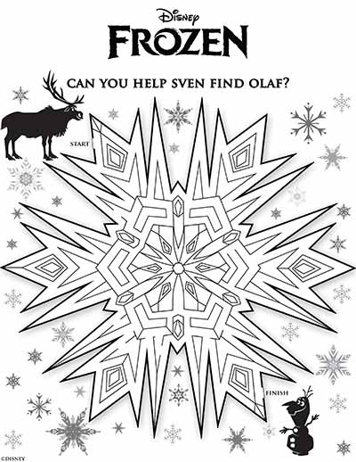 Sven Maze Coloring Pages from Frozen