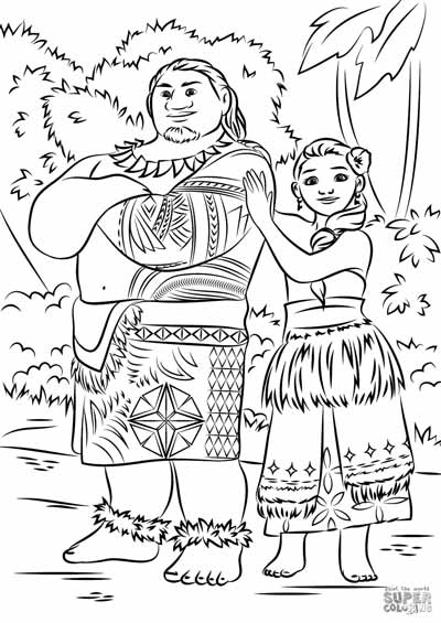 Tui and Sina Coloring Pages from Moana