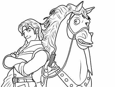Flynn Rider Maximus Coloring Pages from Tangled