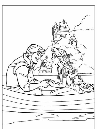 Rapunzel and Flynn Rider Coloring Pages from Tangled