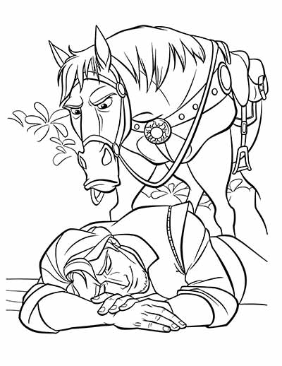 Maximus Coloring Pages from Tangled