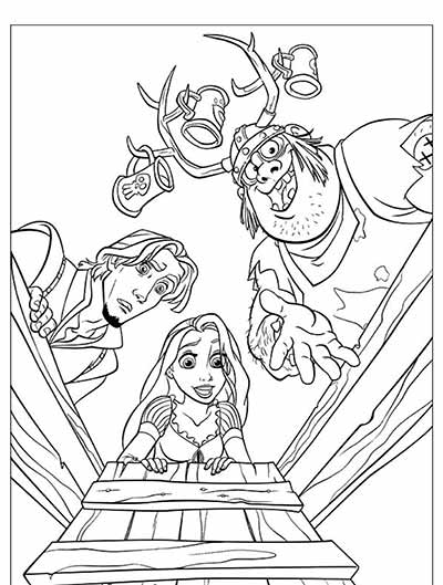 Rapunzel and Flynn Coloring Pages from Tangled