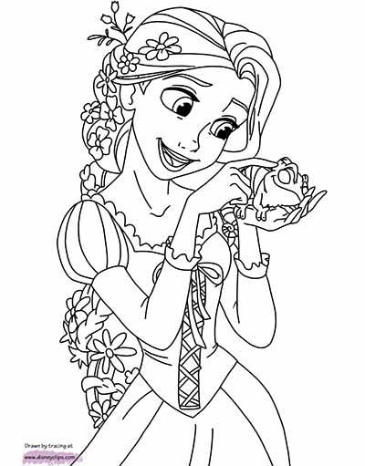 Rapunzel PAscal Coloring Page from Tangled by Disney