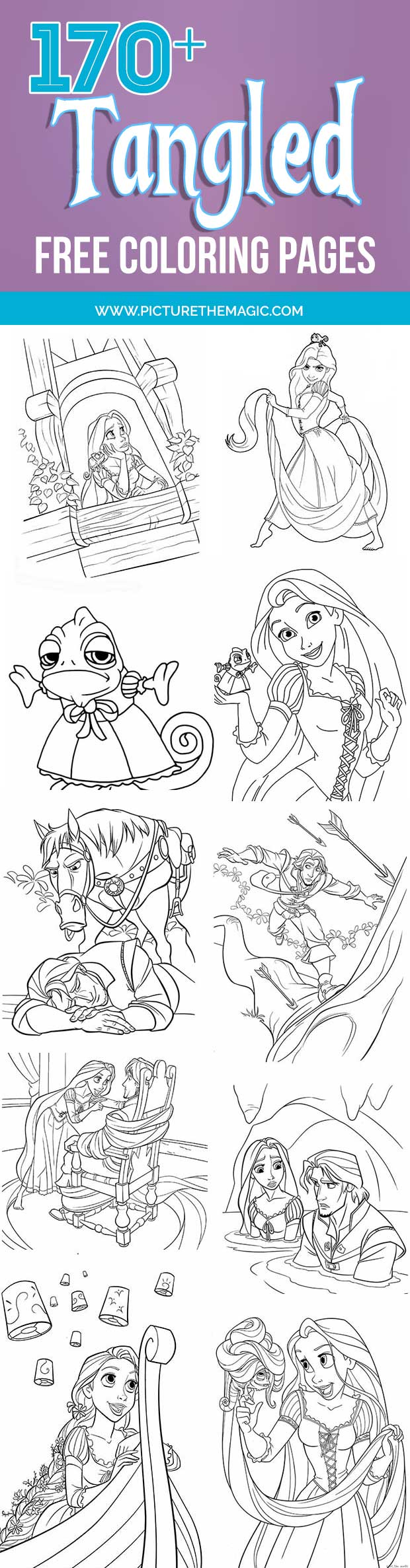 Wow! Over 170 FREE Tangled Coloring Pages! Includes Rapunzel coloring pages, Flynn Rider, Max and Pascal too