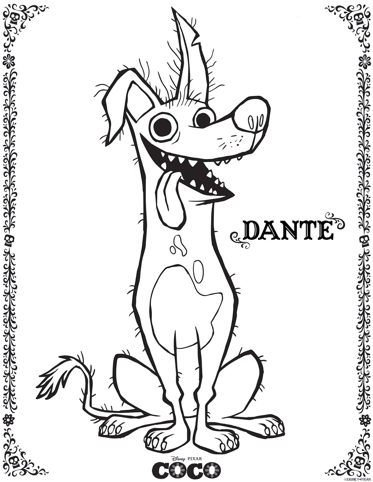 dante coco coloring pages from disney pixar movie