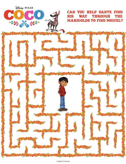 Coco Maze! Miguel Coloring Pages from Disney Pixar Movie