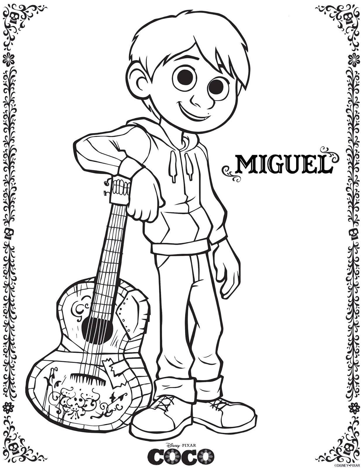 miguel coco coloring pages from disney pixar movie