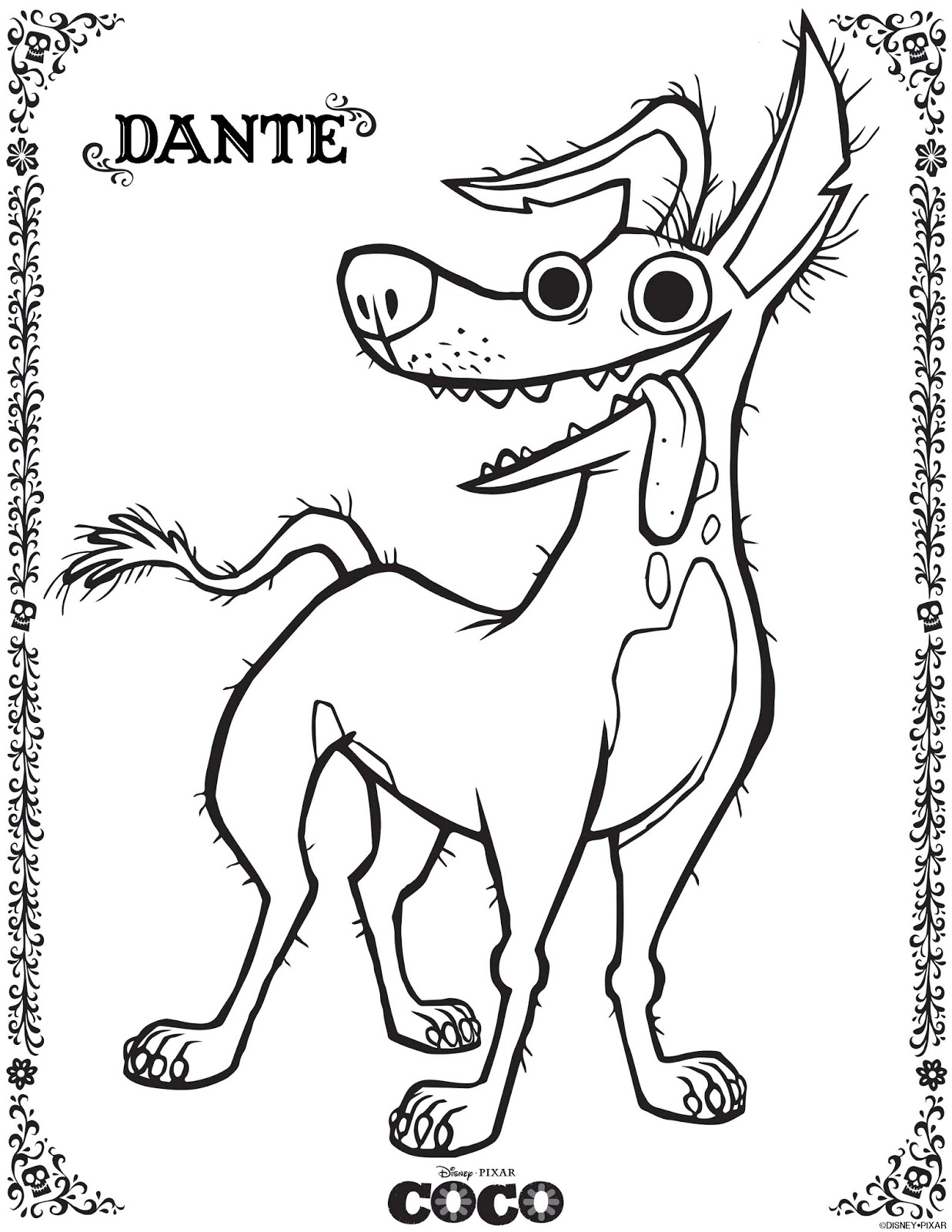 dante he dog coco coloring pages from disney pixar movie