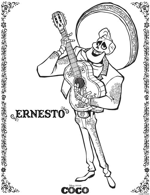 Ernesto Coco Coloring Pages from Disney Pixar Movie