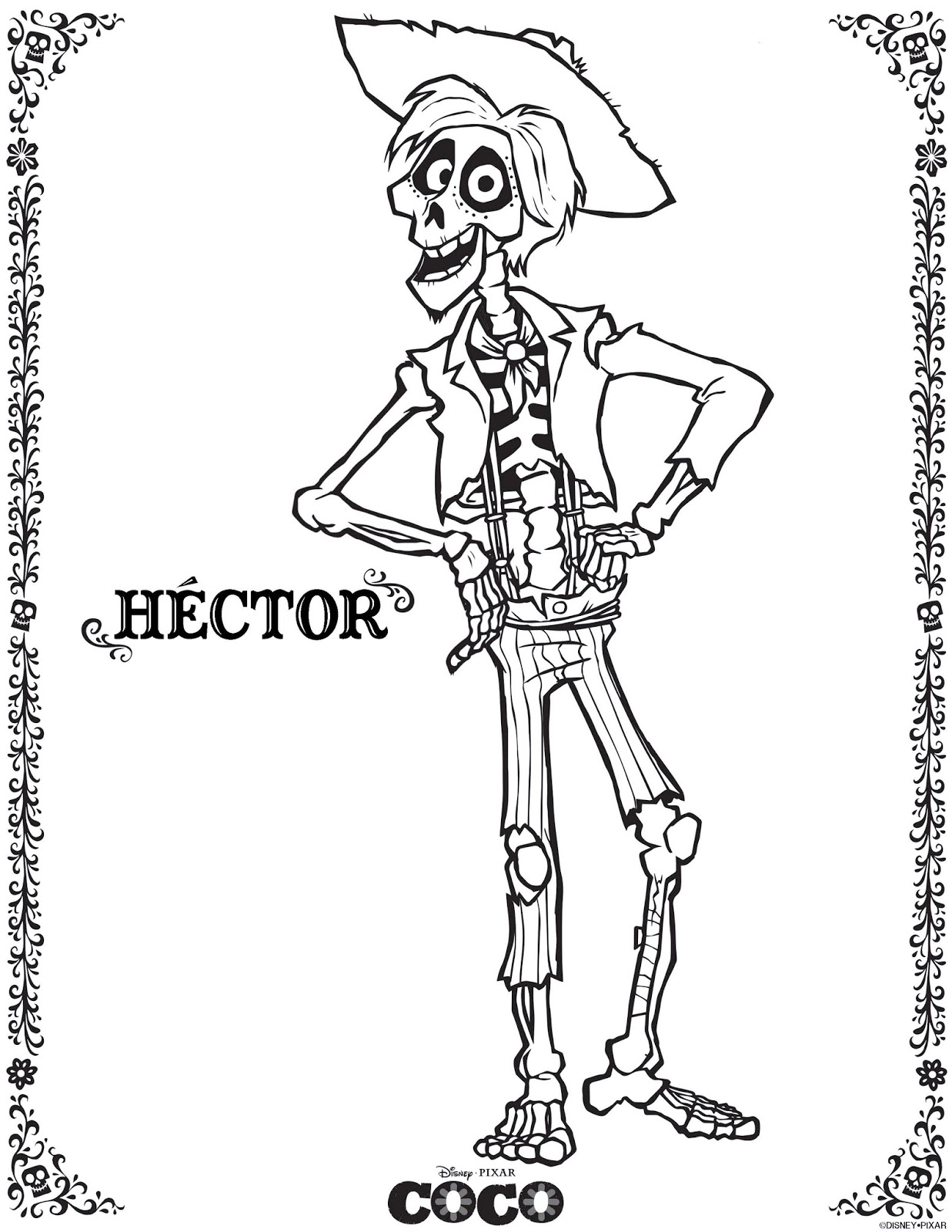 Hector Coco Coloring Pages From Disney Pixar Movie