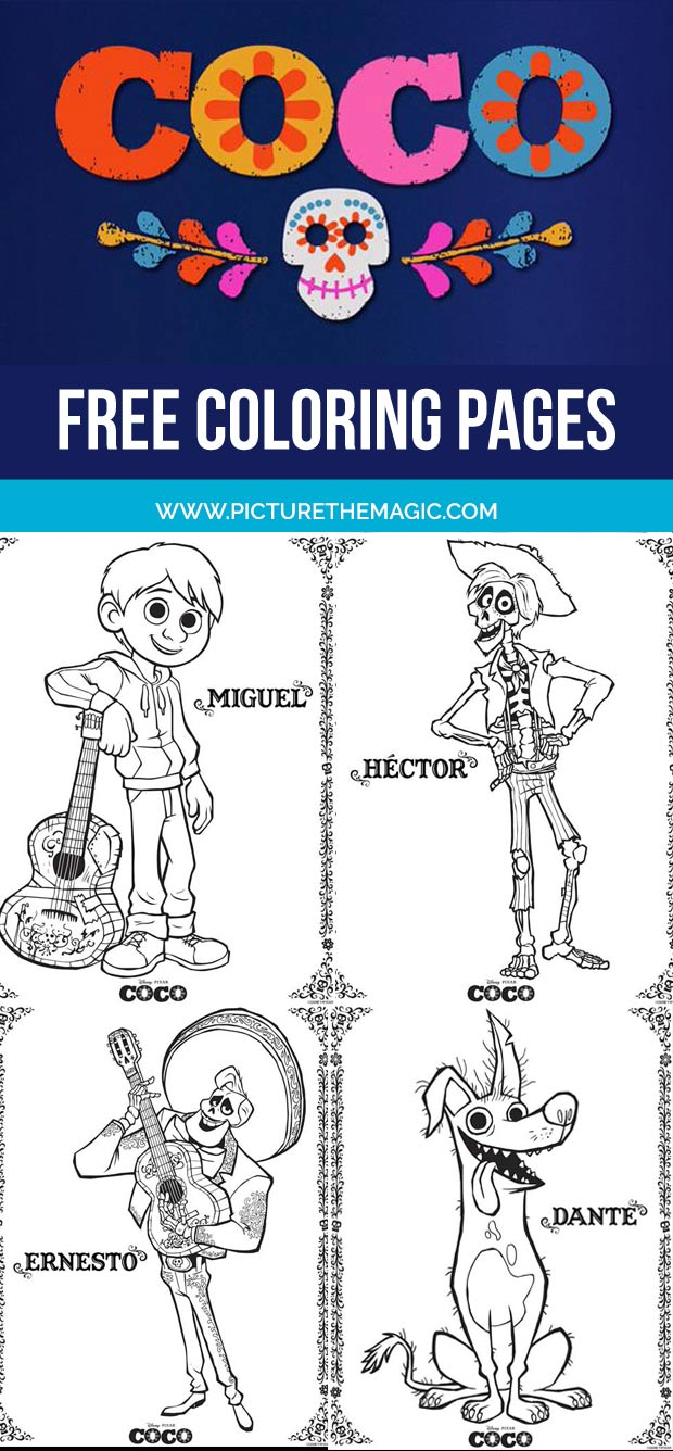 FREE! Coco Coloring Pages. Print them one at a time or download them all at once.