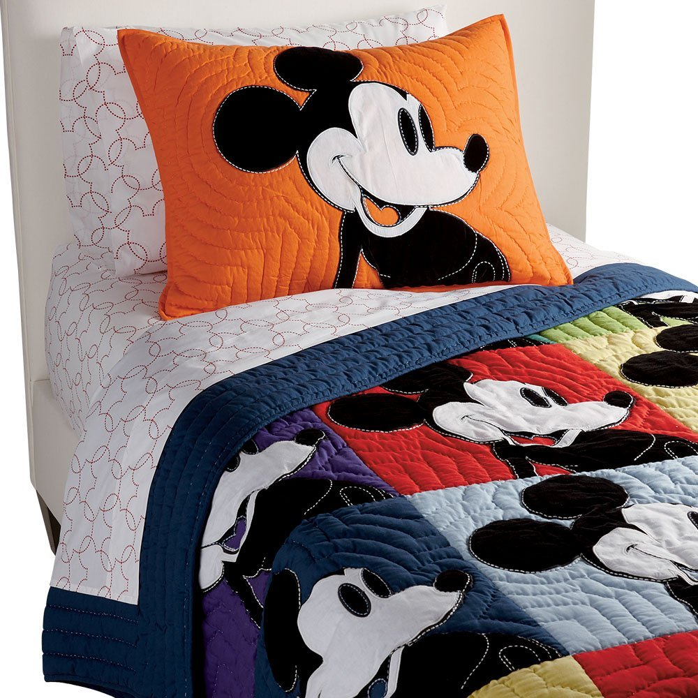 Best Ethan Allen Disney Quilt: Mickey Mouse Color Block