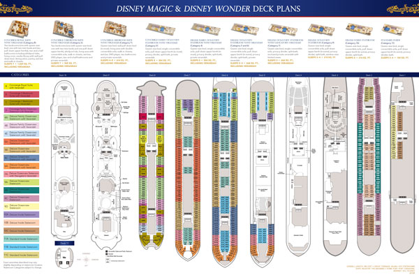 Disney Wonder Map or Disney Wonder Deck Plan