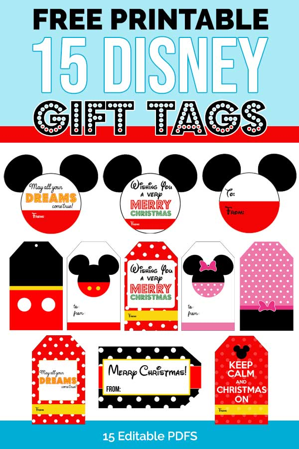 15 FREE Disney Gift Tags Great For Christmas Birthday