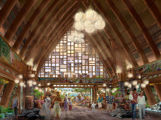 Early concept art of the interior of the proposed Aulani resort lobby.