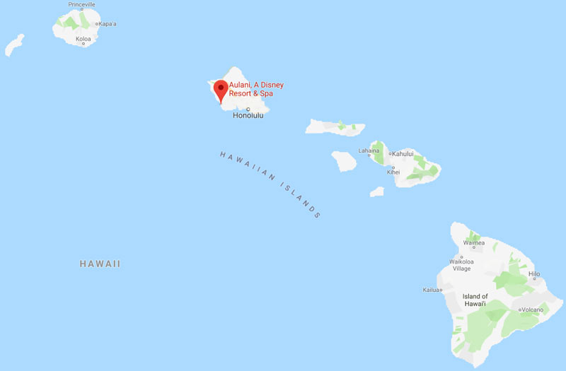 What island is Aulani on? Map of Hawaiian islands