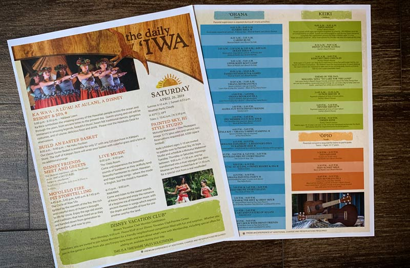 Download past versions of Aulani Daily Iwa schedules