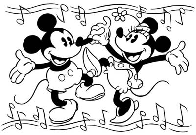 minnie and mickey mouse are dancing coloring page
