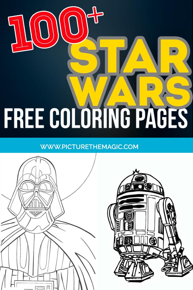 FUN! Over 100 free Star Wars Coloring Pages. Darth Vader, Yoda, Stormtrooper, R2D2, Clone Trooper, Luke Skywalker and Chewbacca from the movie. Free Star Wars coloring sheets. #starwars
