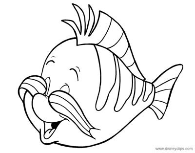 Little Mermaid Flounder Coloring Pages