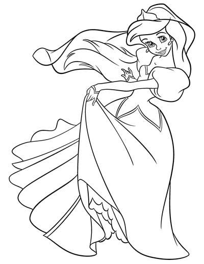 Wedding Princess Ariel coloring page (med billeder) | Tegninger, Ariel | 518x400