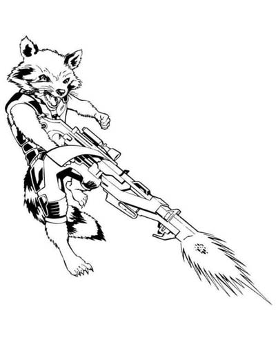 Rocket Raccoon Coloring Pages