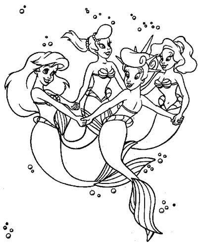 Ariel and Her Sisters Coloring Pages