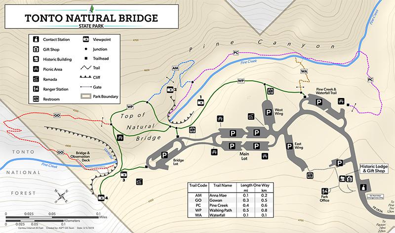 Map of Tonto Natural Bridge State Park