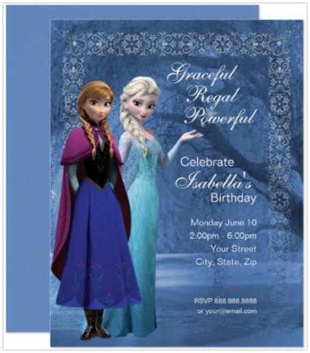 Anna & Elsa Birthday Invitation for Frozen Party Idieas