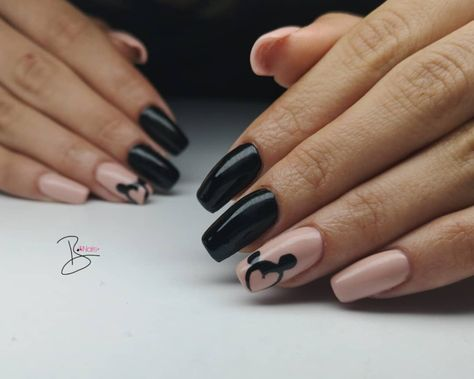 These nude and black nails are perfect for the Disney-loving girlboss. You can take these both to Disneyland with the family then back to the office for your next big meeting.
