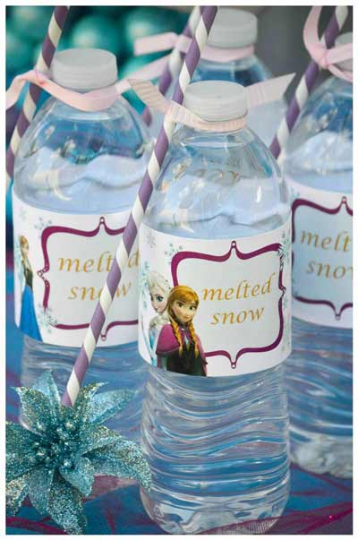 """Frozen Party Idea: Printable labels for water bottles called """"melted snow"""""""