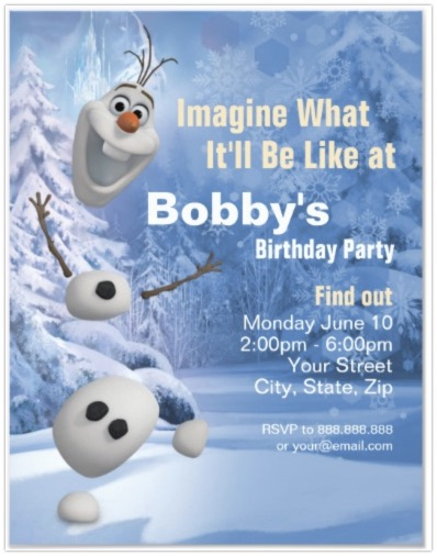 Olaf Snowman Birthday invitation for Frozen Party Ideas